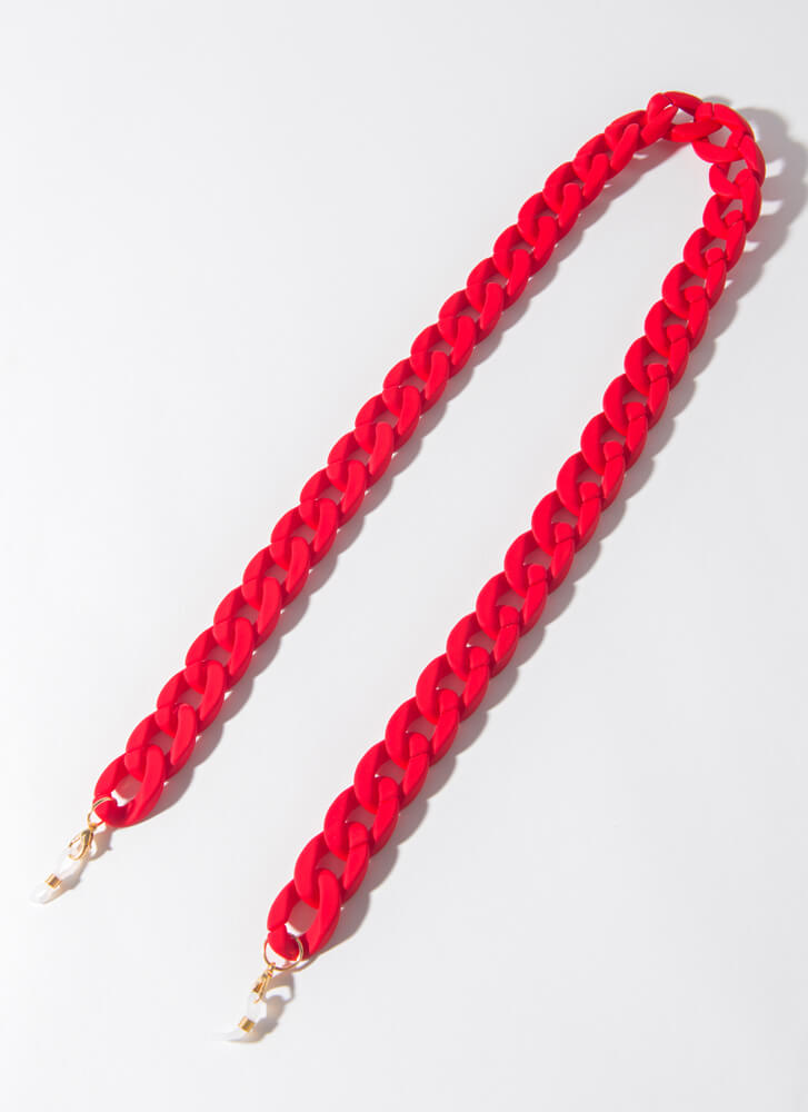 Matte Magic Face Mask And Glasses Chain RED