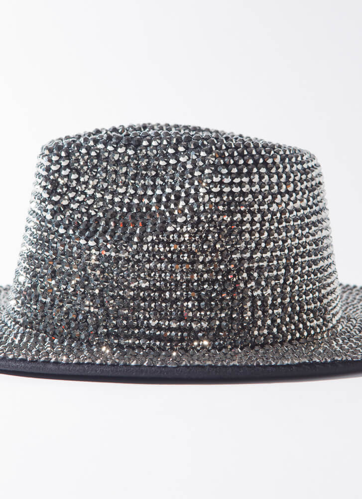 Sparkle And Flash Studded Fedora SILVER