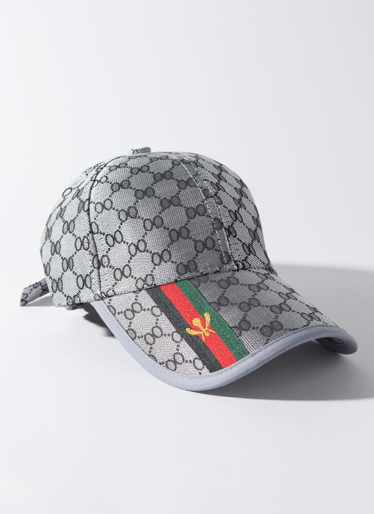 Bee-lieve Me Striped Patterned Cap GREY