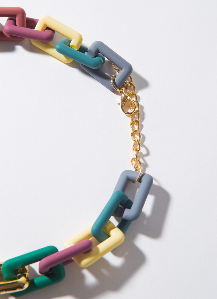 Matte Mix Chunky Chain Link Necklace Set MULTI