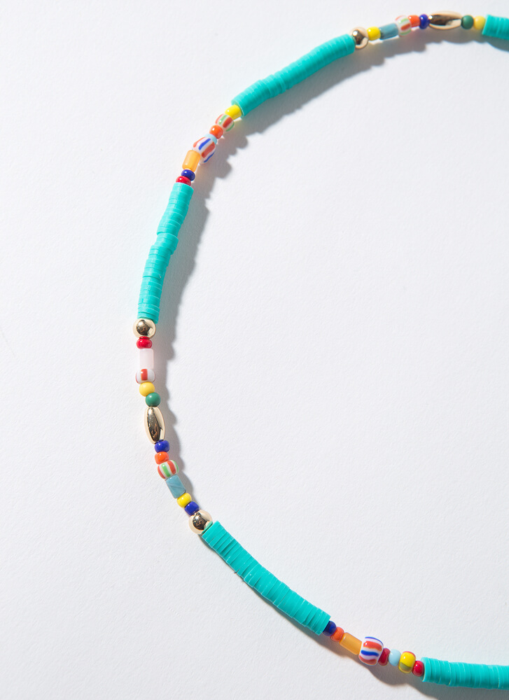 Bits And Pieces Colorful Beaded Necklace TEAL