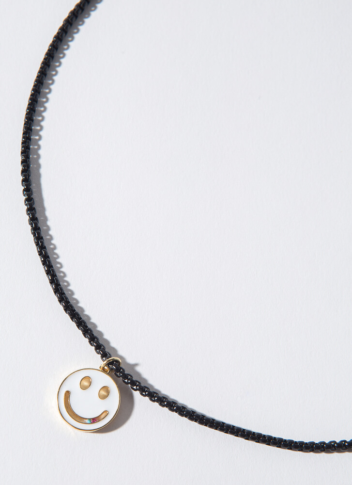 Big Smile Bead Chain Happy Face Necklace BLACKWHITE