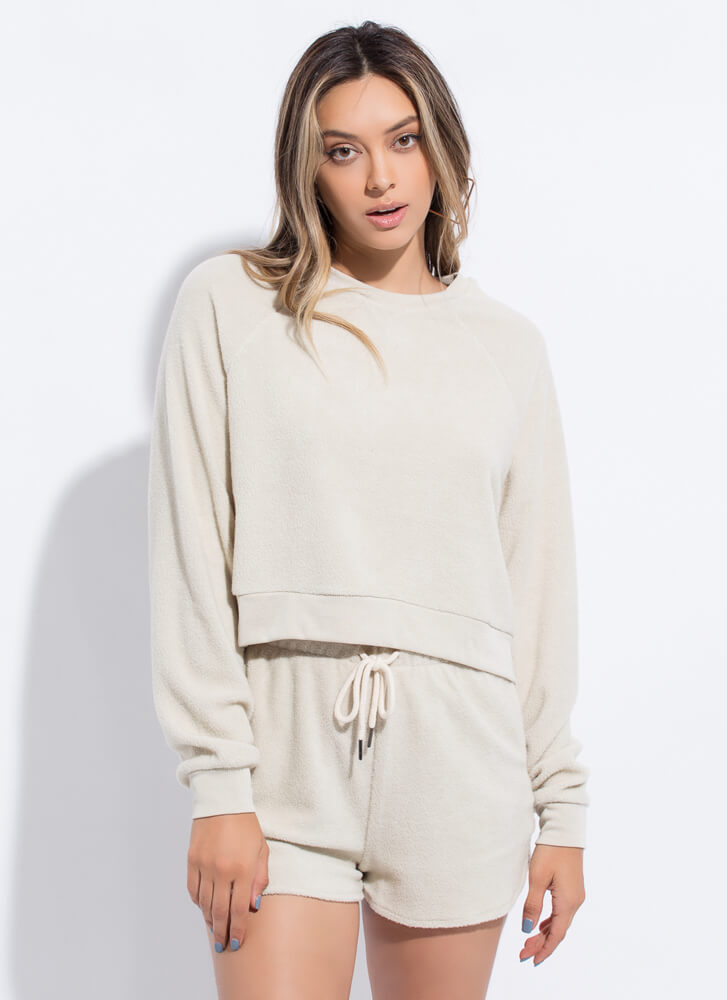 Fleece And Love Top And Shorts Set BEIGE