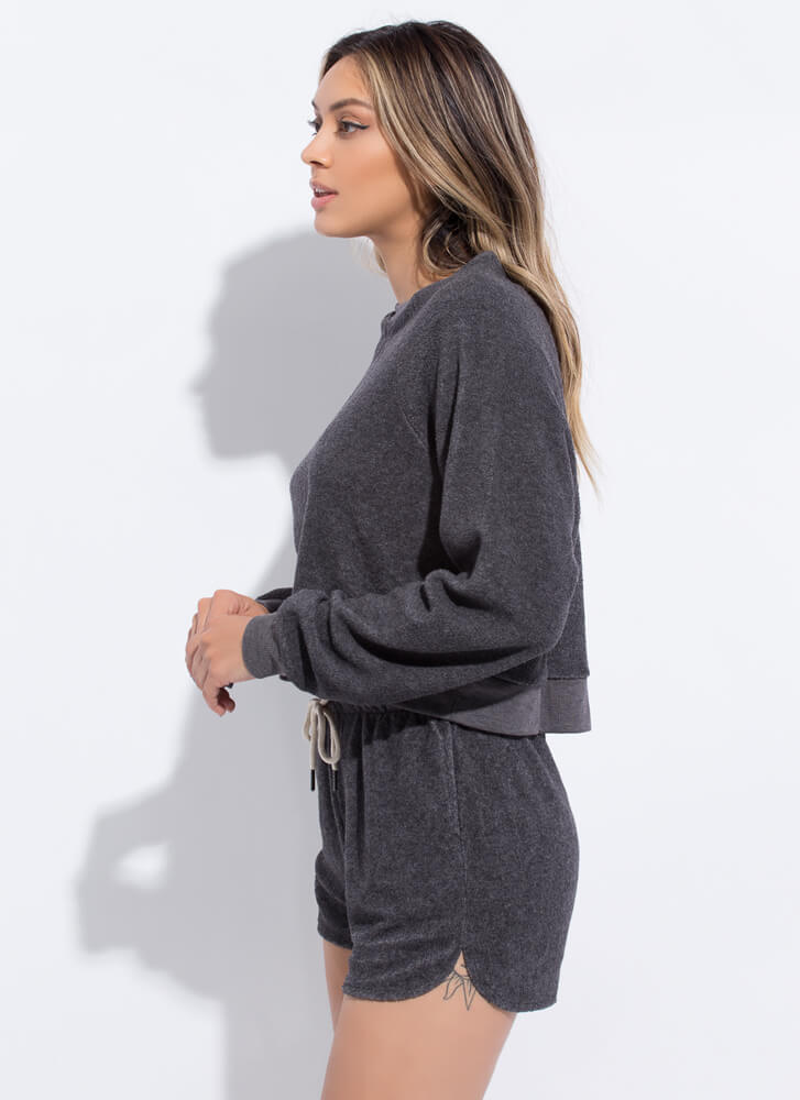 Fleece And Love Top And Shorts Set CHARCOAL