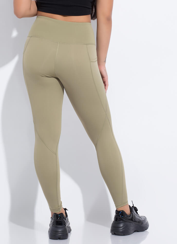 Workout Routine Pocketed Leggings GREEN