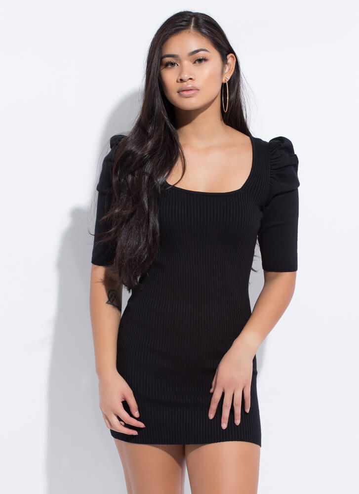 Whimsical Touch Puffy Shoulder Minidress BLACK