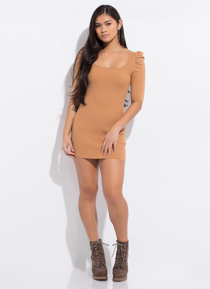 Whimsical Touch Puffy Shoulder Minidress TAUPE