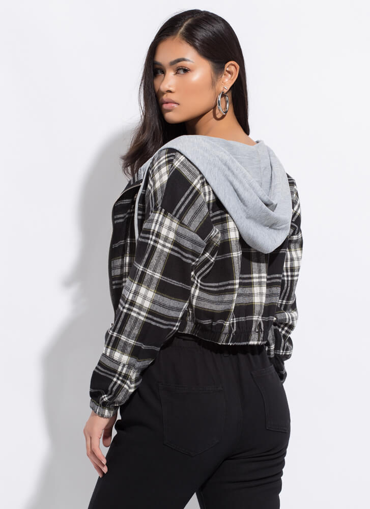 Plaid Girls Only Hooded Cropped Jacket BLACK