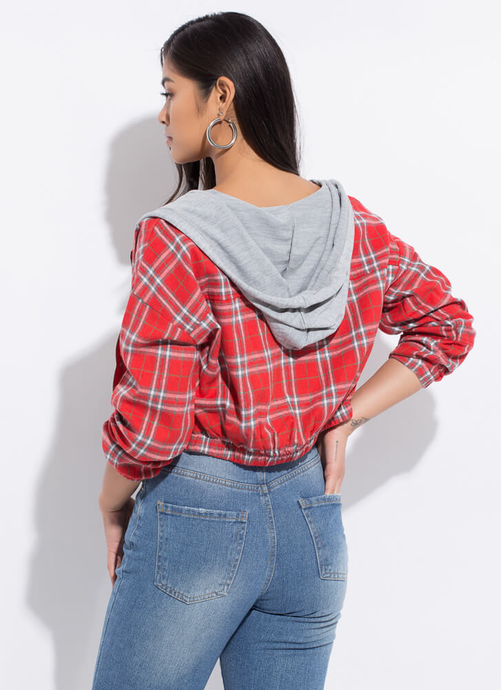 Plaid Girls Only Hooded Cropped Jacket RED