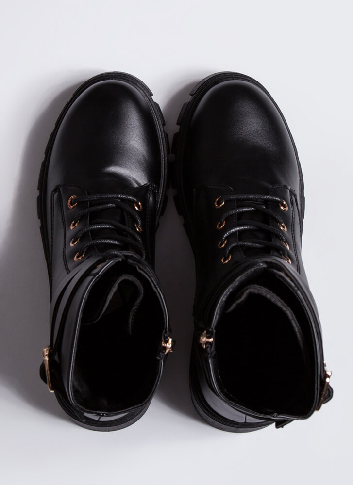 Strapping Rugged Block Heel Combat Boots BLACK