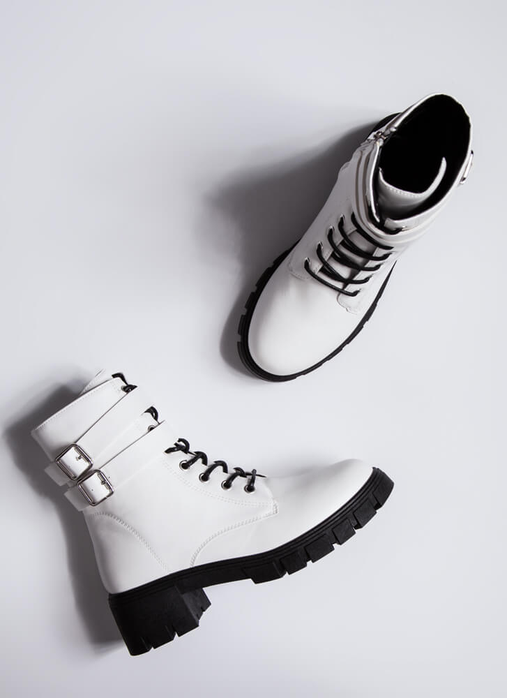 Strapping Rugged Block Heel Combat Boots WHITE