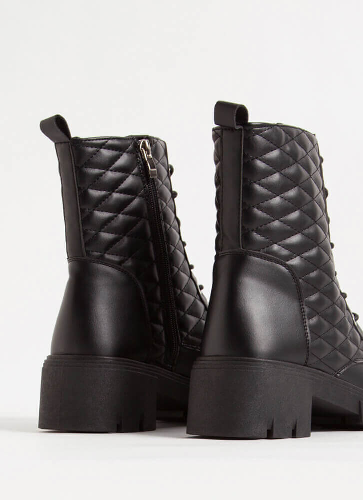New Dimensions Quilted Combat Boots BLACK