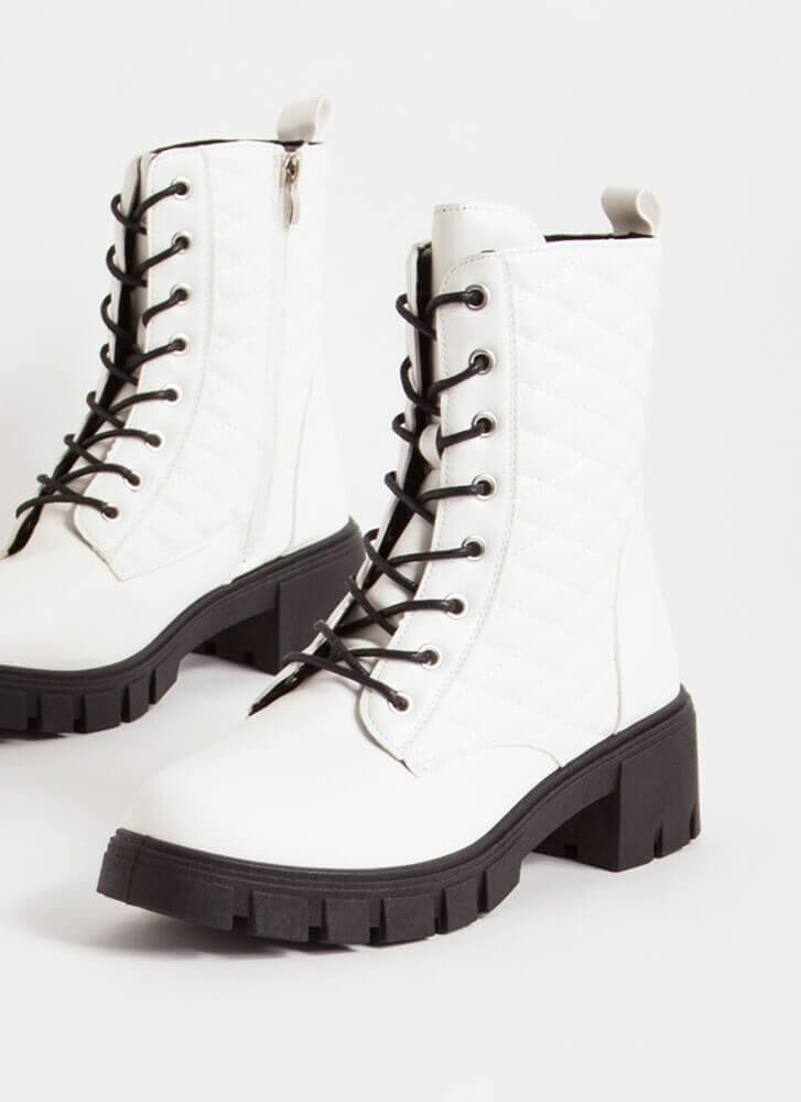 New Dimensions Quilted Combat Boots WHITE