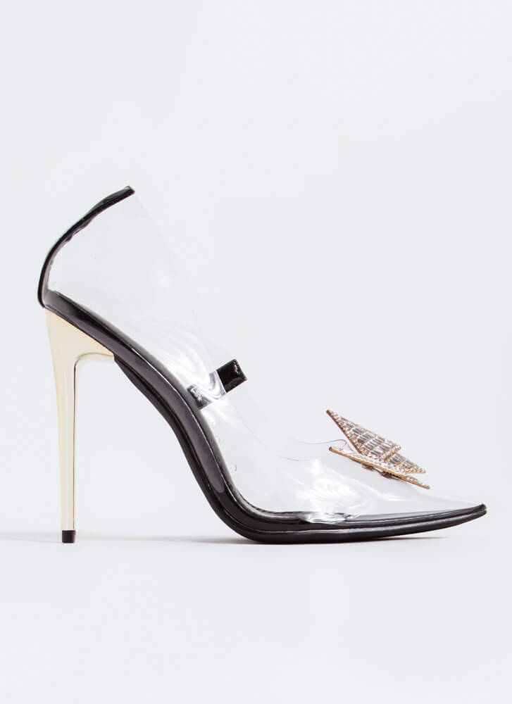 Crystal Clear Jeweled Bow Pointy Pumps BLACK