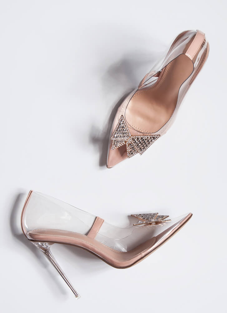 Crystal Clear Jeweled Bow Pointy Pumps NUDE