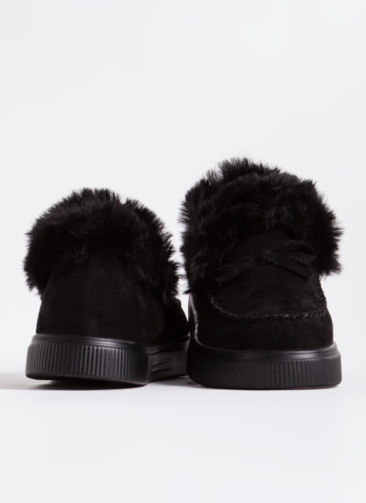 Bow Out In The Cold Furry Trim Moccasins BLACK