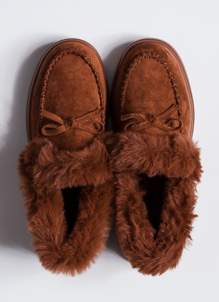 Bow Out In The Cold Furry Trim Moccasins TAN