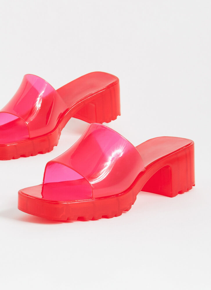 Wading Pool Jelly Block Heel Sandals RED