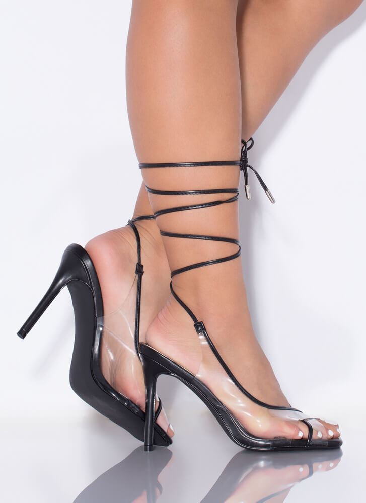 Closer Look Clear Strappy Lace-Up Heels BLACK