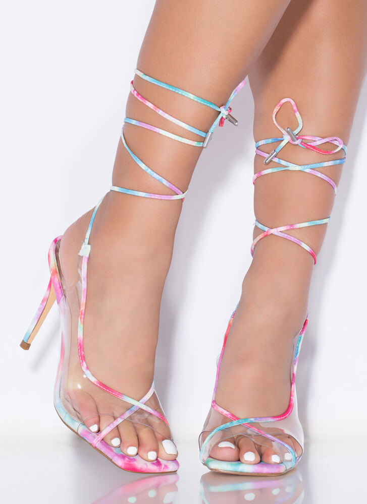 Closer Look Clear Strappy Lace-Up Heels MULTI
