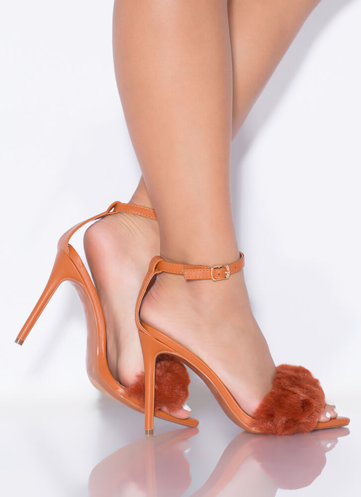 Fur One And All Ankle Strap Heels HONEY