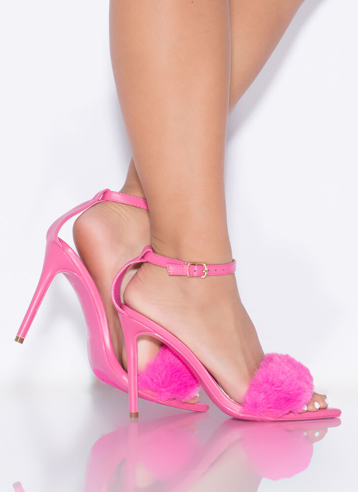 Fur One And All Ankle Strap Heels PINK