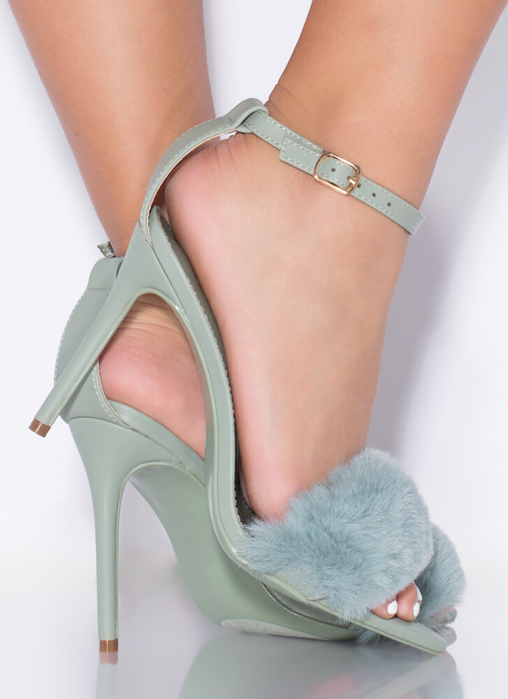 Fur One And All Ankle Strap Heels SAGE