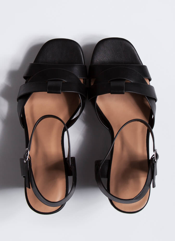Away For The Weekend Strappy Wedges BLACK