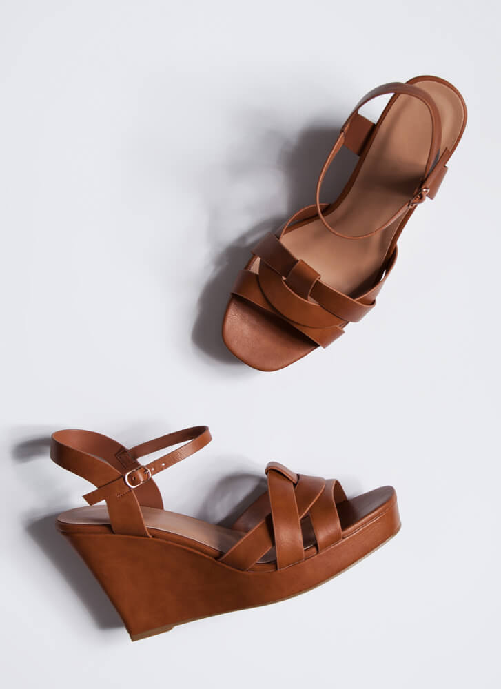 Away For The Weekend Strappy Wedges TAN