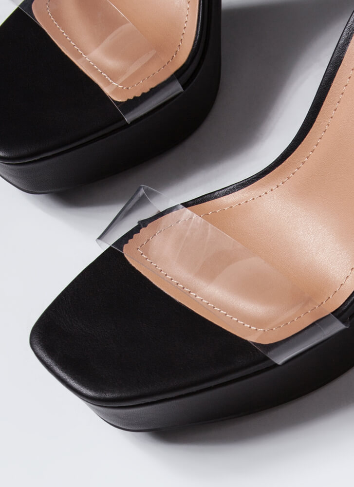 Are We Clear Chunky Faux Leather Heels BLACK