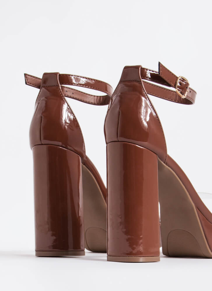 Are We Clear Chunky Faux Patent Heels COGNAC