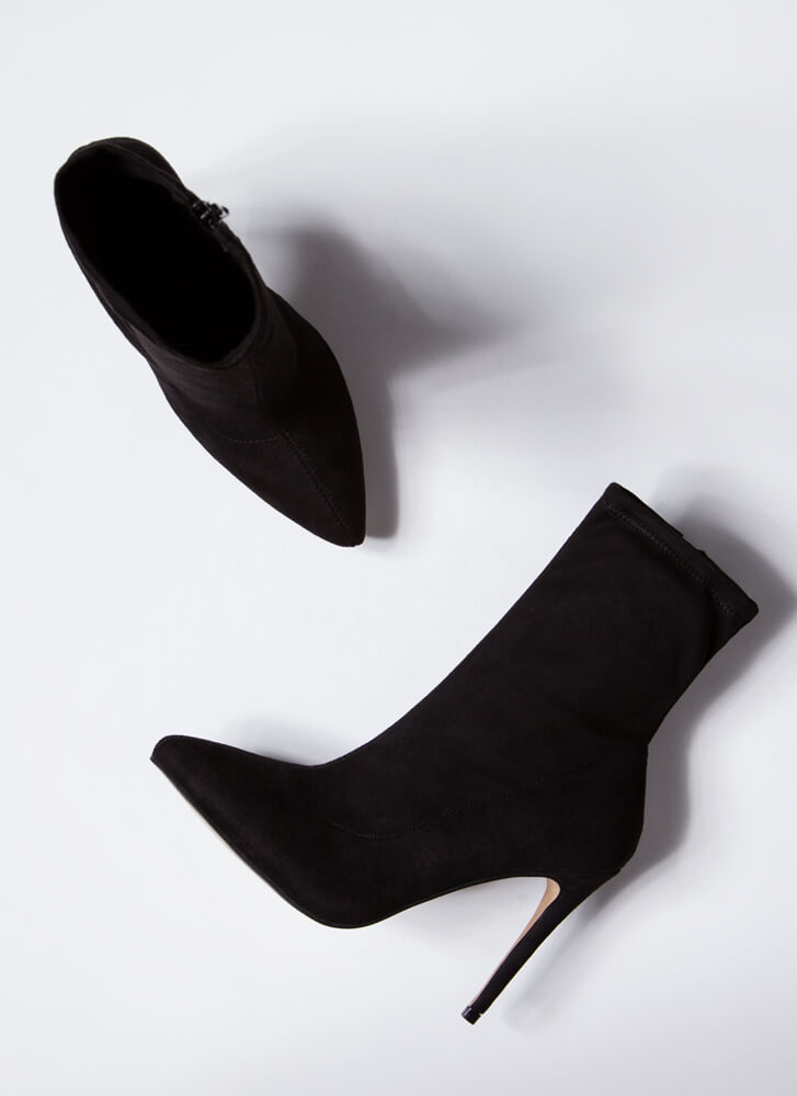 Point The Way Faux Suede Sock Booties BLACK
