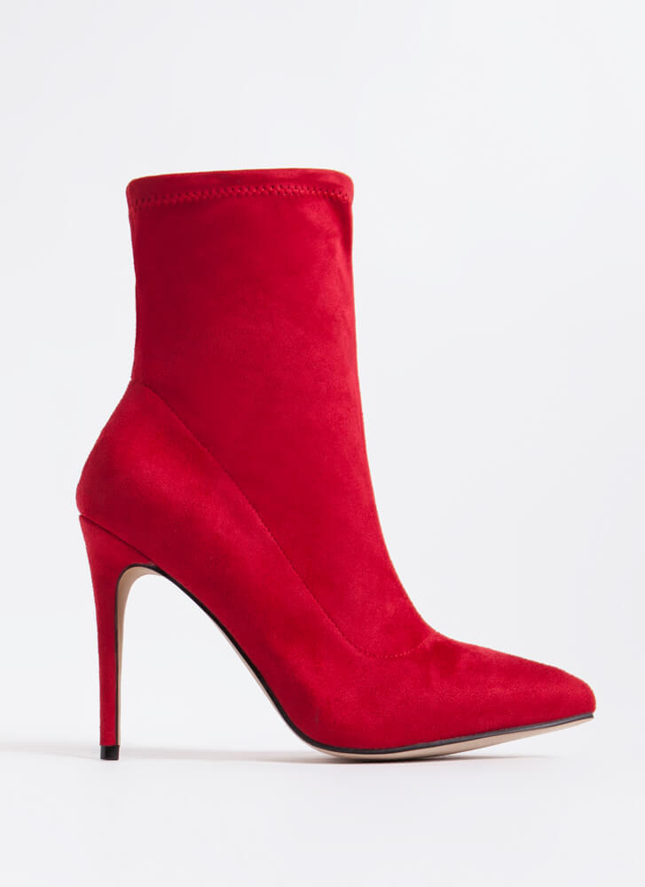 Point The Way Faux Suede Sock Booties RED