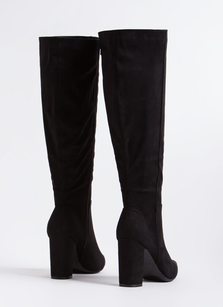 Point Blank Chunky Knee-High Boots BLACK