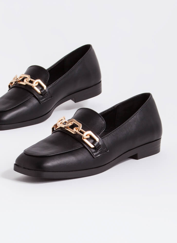 Make Connections Chain Accent Loafers BLACK