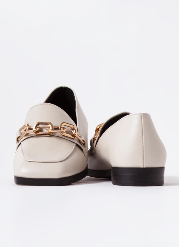 Make Connections Chain Accent Loafers IVORY