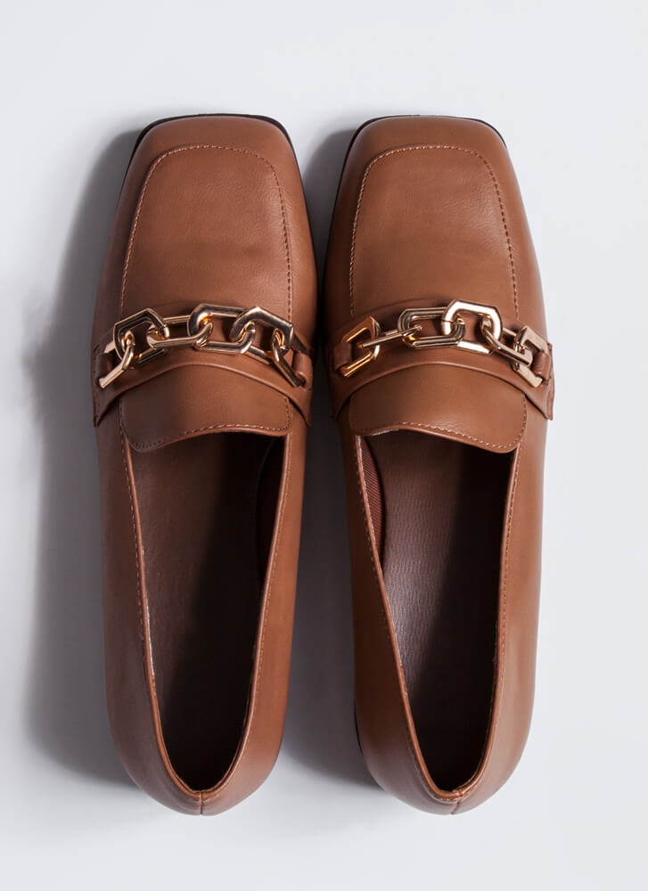 Make Connections Chain Accent Loafers TAN