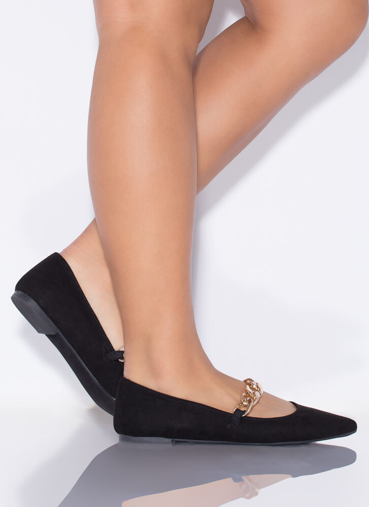 Chain Reaction Pointy Faux Suede Flats BLACK