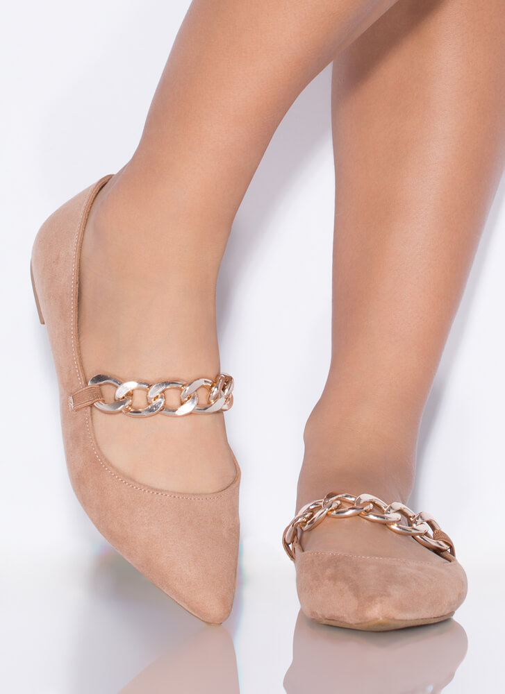 Chain Reaction Pointy Faux Suede Flats CAMEL