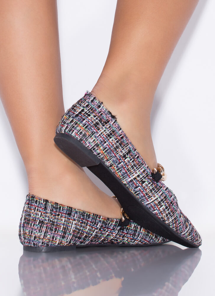 Chain Reaction Pointy Tweed Flats BLACK