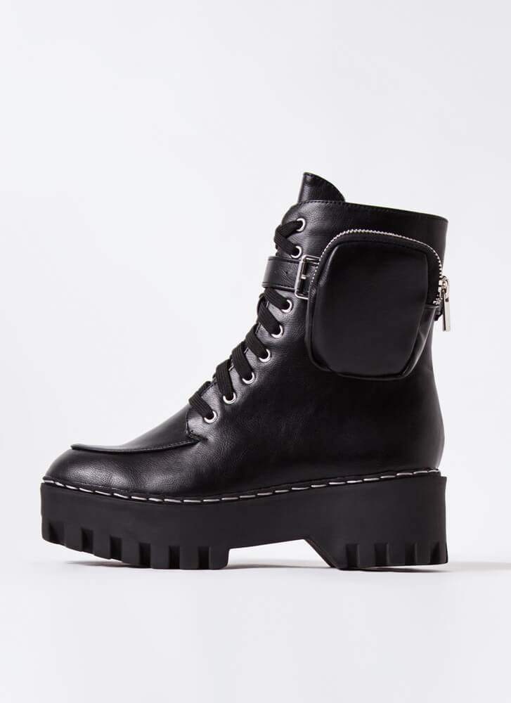 Carry On Pouch Accent Combat Boots BLACK