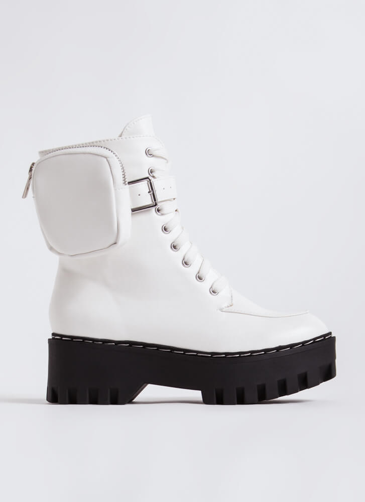 Carry On Pouch Accent Combat Boots WHITE