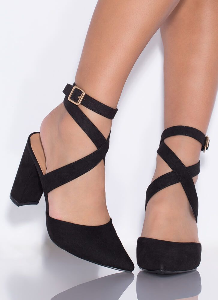 Perfect Mix Chunky Pointy Heels BLACK