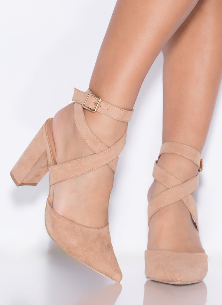 Perfect Mix Chunky Pointy Heels CAMEL