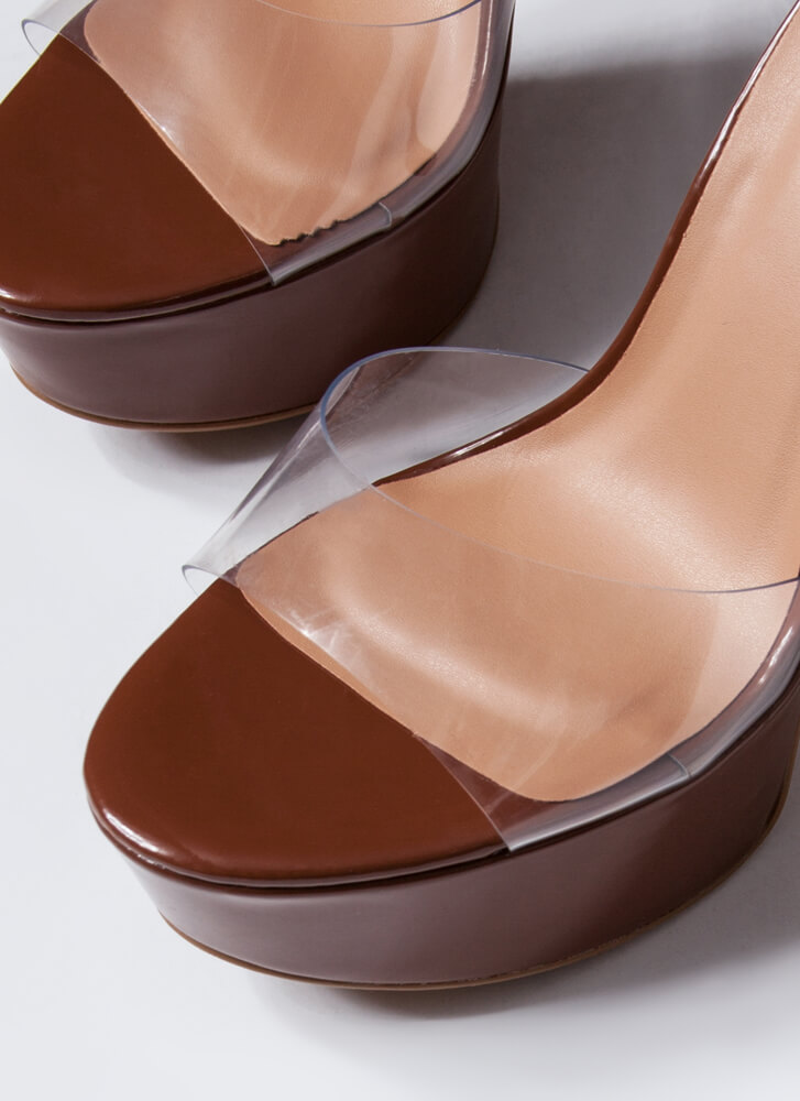 Keep Clear Chunky Faux Patent Platforms COGNAC