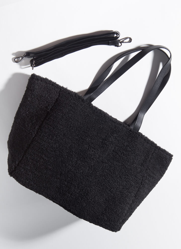 Carry Me Oversized Faux Shearling Bag BLACK