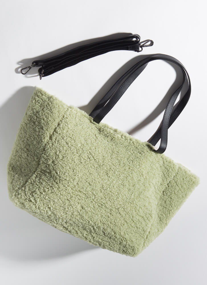Carry Me Oversized Faux Shearling Bag GREEN