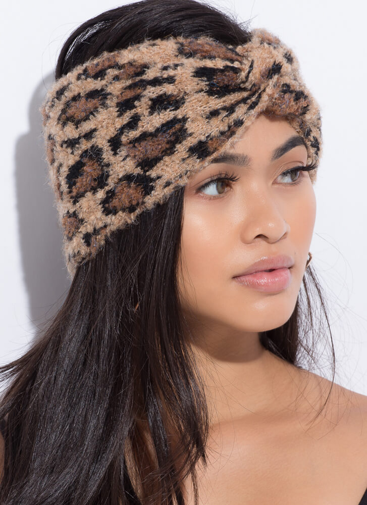Fuzzy Leopard Wide Knotted Headband CAMEL