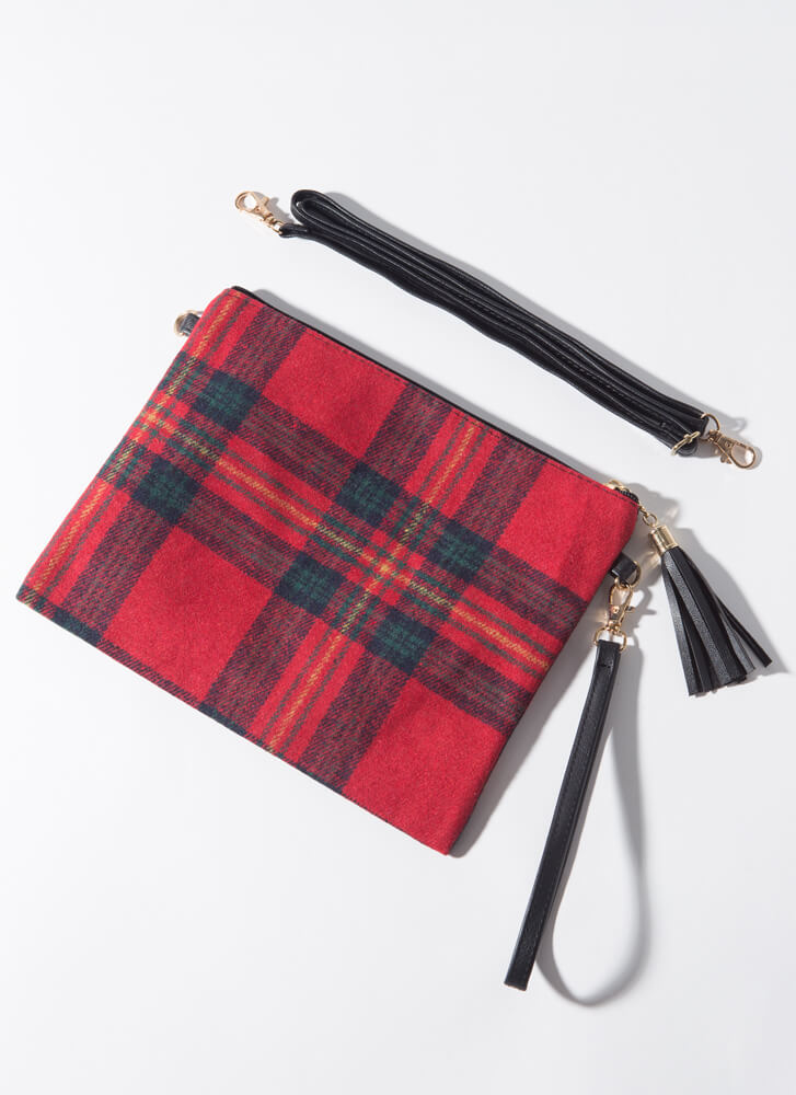 Good To Be Plaid Tasseled Flannel Clutch RED