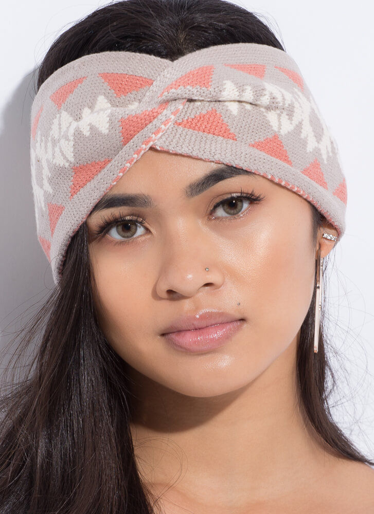 Snowflake Wrapped Patterned Headband TAUPE